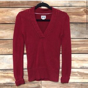 Converse all star red v-neck heavy knit sweater